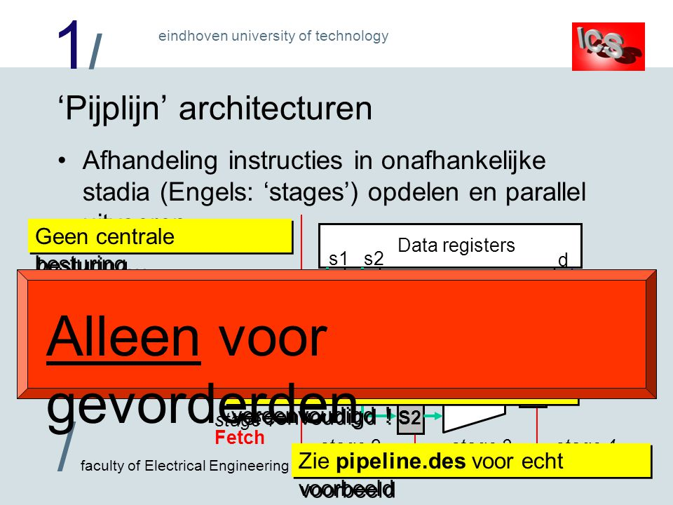 1/1/ / faculty of Electrical Engineering eindhoven university of technology stage 3 Execute stage 2 Decode stage 1 Fetch 'Pijplijn' architecturen •Afh