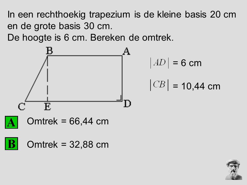 In een rechthoekig trapezium is de kleine basis 20 cm en de grote basis 30 cm. De hoogte is 6 cm. Bereken de omtrek. Omtrek = 66,44 cm = 6 cm Omtrek =
