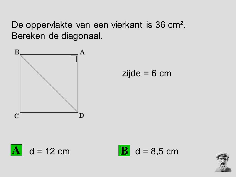 De oppervlakte van een vierkant is 36 cm².