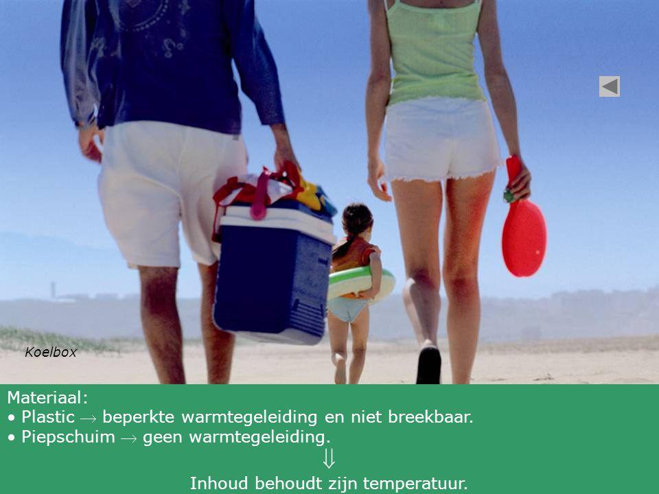 Koelbox Materiaal: • Plastic  beperkte warmtegeleiding en niet breekbaar.