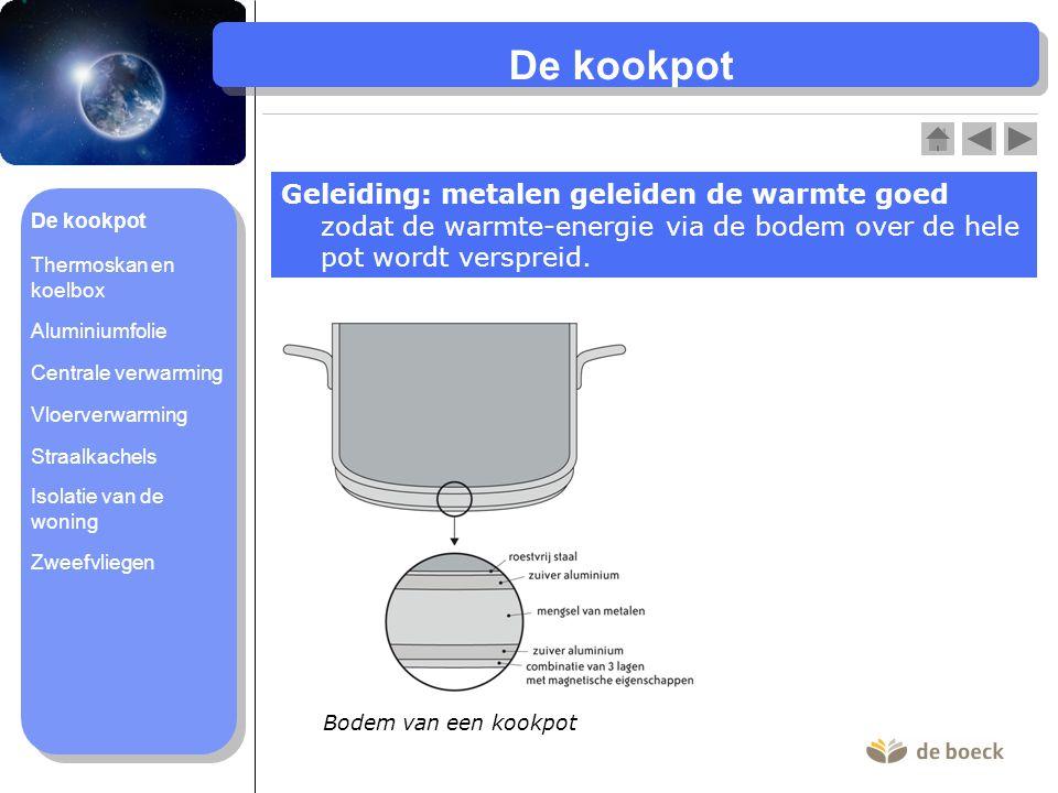 De kookpot Geleiding: metalen geleiden de warmte goed zodat de warmte-energie via de bodem over de hele pot wordt verspreid.