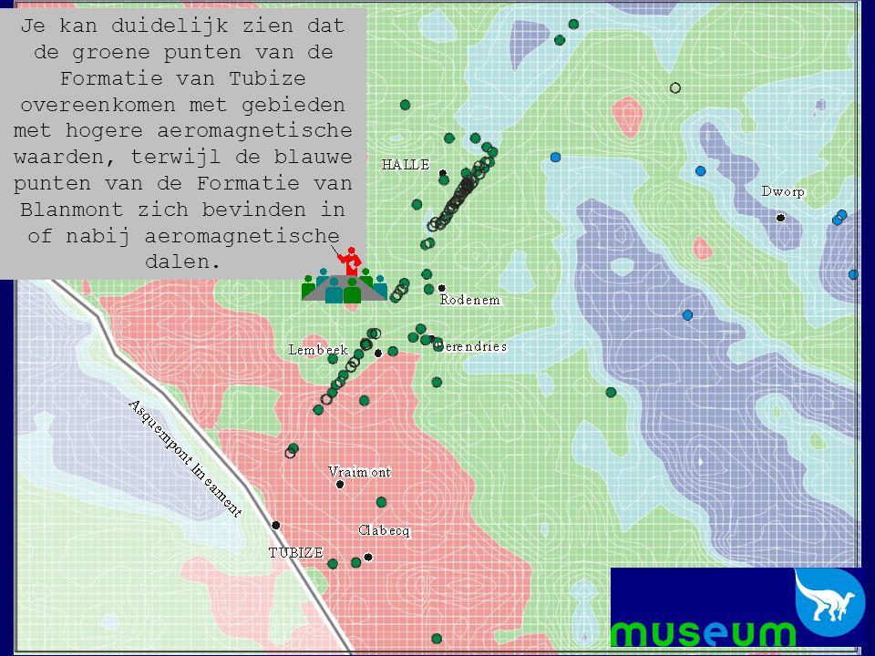 Je kan duidelijk zien dat de groene punten van de Formatie van Tubize overeenkomen met gebieden met hogere aeromagnetische waarden, terwijl de blauwe punten van de Formatie van Blanmont zich bevinden in of nabij aeromagnetische dalen.