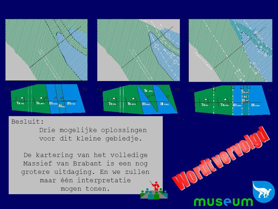 Besluit: Drie mogelijke oplossingen voor dit kleine gebiedje. De kartering van het volledige Massief van Brabant is een nog grotere uitdaging. En we z