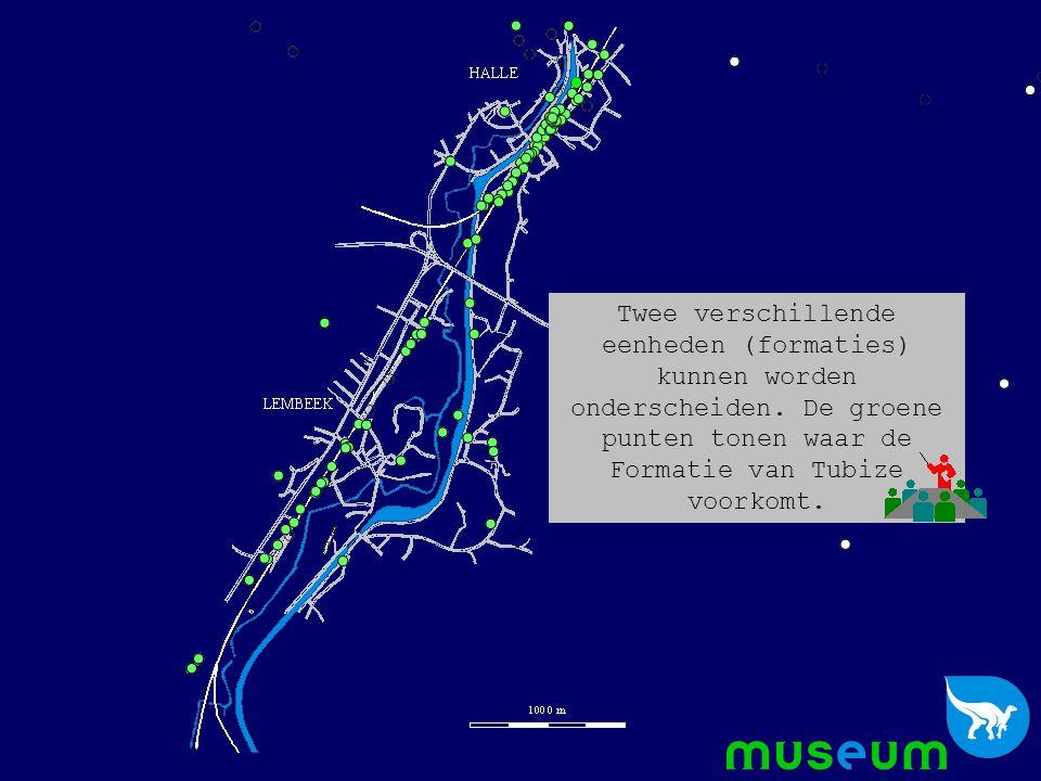 De blauwe punten waar de Formatie van Blanmont wordt teruggevonden.