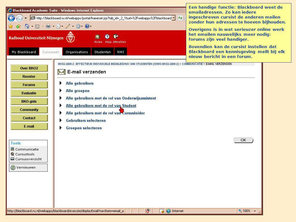 Een handige functie: Blackboard weet de emailadressen.