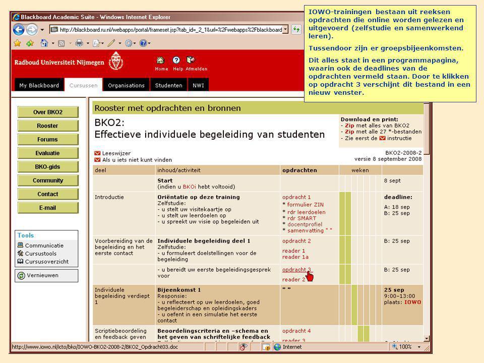 IOWO-trainingen bestaan uit reeksen opdrachten die online worden gelezen en uitgevoerd (zelfstudie en samenwerkend leren).