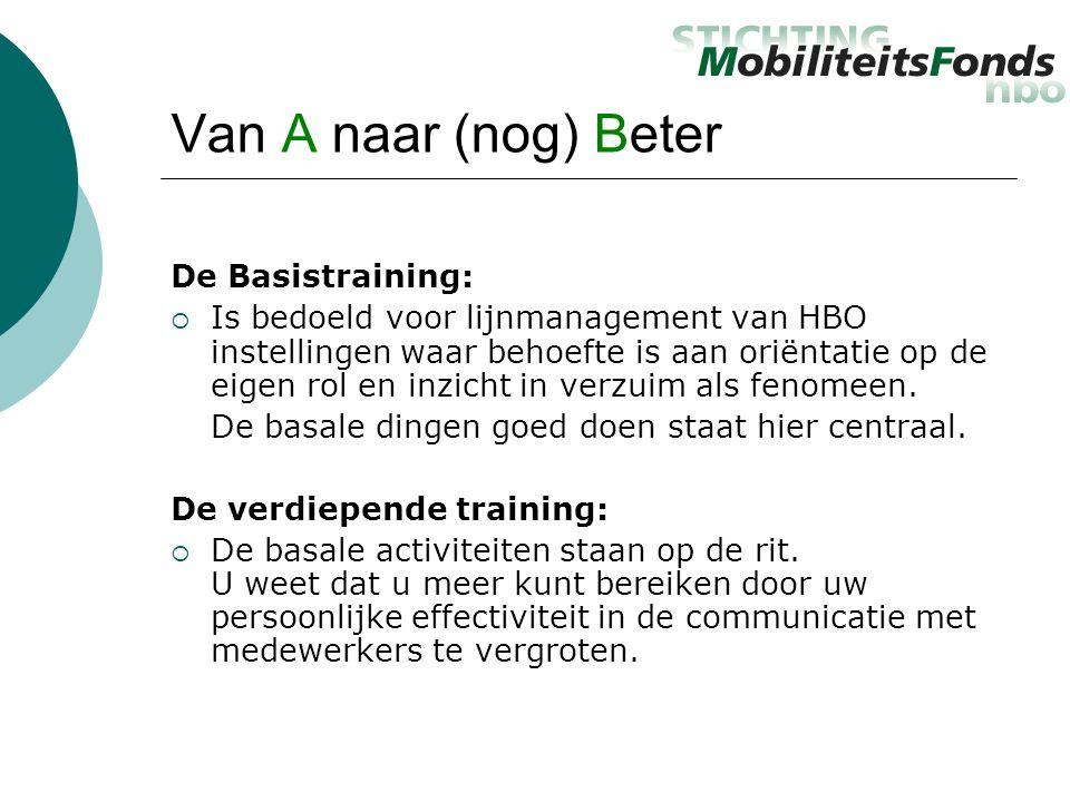 Van A naar (nog) Beter De Basistraining:  Is bedoeld voor lijnmanagement van HBO instellingen waar behoefte is aan oriëntatie op de eigen rol en inzicht in verzuim als fenomeen.