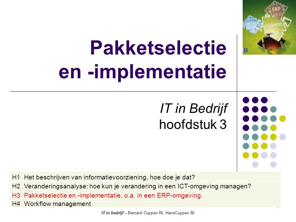 Scope (Fig 1-27 ICT in bedrijf deel 1) Maatschappij (inter-organisatie) Organisatie/ Afdeling (inter-werkplek) Werkplek Pakketselectie en -implementatie