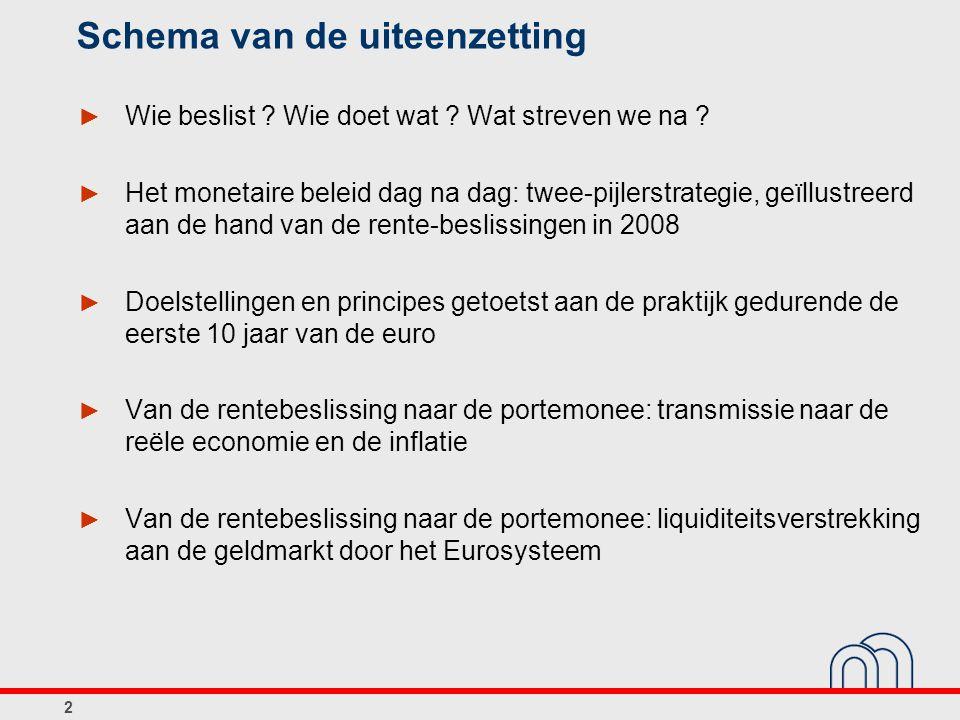 3 De euro: wie beslist ? Wie doet wat ? Wat streven we na ?
