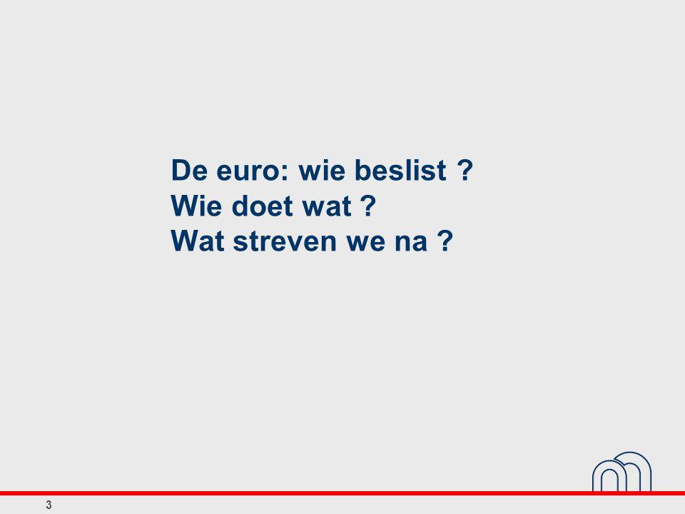 4 Hoofdopdrachten van het Eurosysteem ► Monetair beleid ● Primaire doelstelling: prijsstabiliteit ► Goud- en deviezenreserves van de lidstaten ► Betalingssystemen ► Financiële stabiliteit ► Bankbiljetten