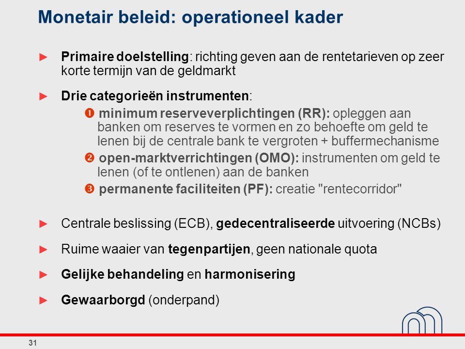 31 Monetair beleid: operationeel kader ► Primaire doelstelling: richting geven aan de rentetarieven op zeer korte termijn van de geldmarkt ► Drie categorieën instrumenten:  minimum reserveverplichtingen (RR): opleggen aan banken om reserves te vormen en zo behoefte om geld te lenen bij de centrale bank te vergroten + buffermechanisme  open-marktverrichtingen (OMO): instrumenten om geld te lenen (of te ontlenen) aan de banken  permanente faciliteiten (PF): creatie rentecorridor ► Centrale beslissing (ECB), gedecentraliseerde uitvoering (NCBs) ► Ruime waaier van tegenpartijen, geen nationale quota ► Gelijke behandeling en harmonisering ► Gewaarborgd (onderpand)
