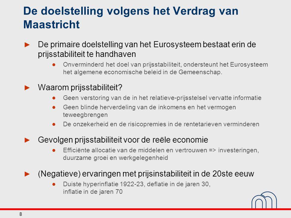 8 De doelstelling volgens het Verdrag van Maastricht ► De primaire doelstelling van het Eurosysteem bestaat erin de prijsstabiliteit te handhaven ● Onverminderd het doel van prijsstabiliteit, ondersteunt het Eurosysteem het algemene economische beleid in de Gemeenschap.