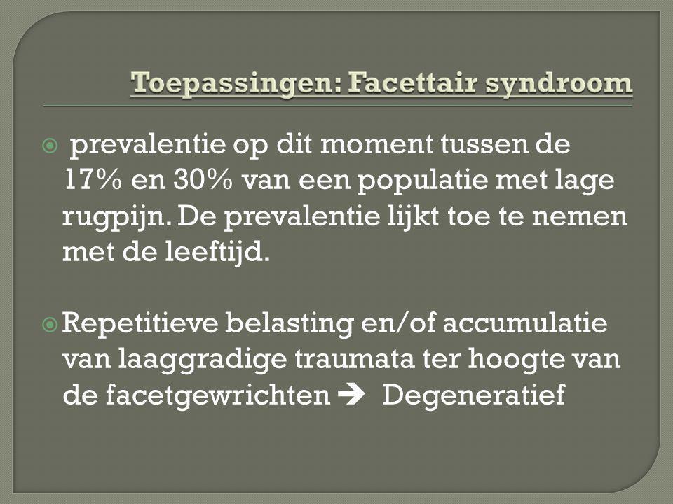  prevalentie op dit moment tussen de 17% en 30% van een populatie met lage rugpijn. De prevalentie lijkt toe te nemen met de leeftijd.  Repetitieve