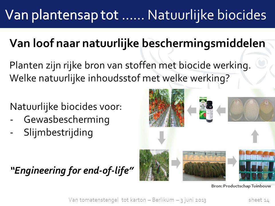 sheet 14 Van plantensap tot …… Natuurlijke biocides Van loof naar natuurlijke beschermingsmiddelen Planten zijn rijke bron van stoffen met biocide wer