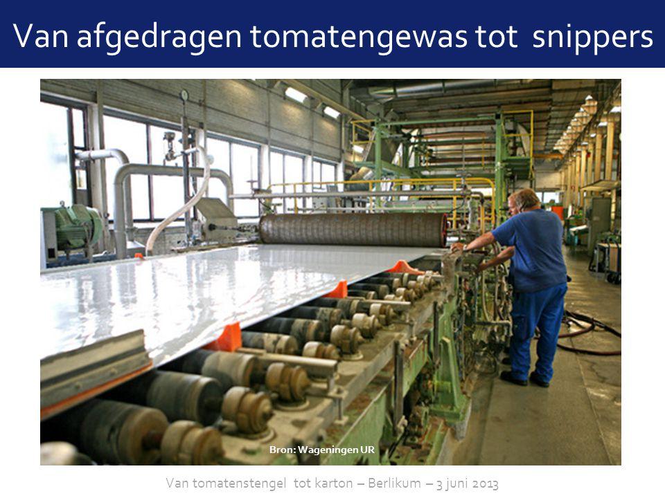 sheet 9 Van afgedragen tomatengewas tot snippers Bron: Frans Zwinkels Projecten en Techniek Van tomatenstengel tot karton – Berlikum – 3 juni 2013 Bron: Wageningen UR