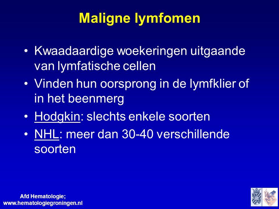 Afd Hematologie; www.hematologiegroningen.nl Maligne lymfomen •Kwaadaardige woekeringen uitgaande van lymfatische cellen •Vinden hun oorsprong in de l