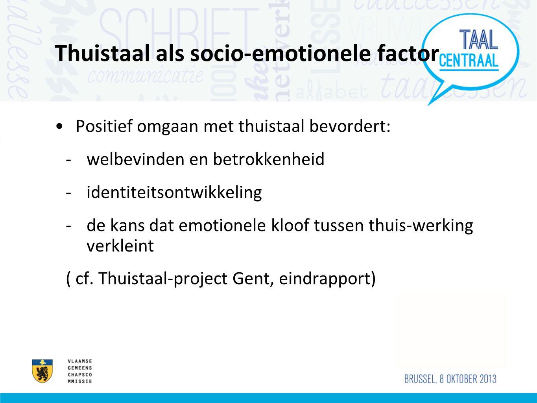 Thuistaal als socio-emotionele factor •Positief omgaan met thuistaal bevordert: -welbevinden en betrokkenheid -identiteitsontwikkeling -de kans dat em