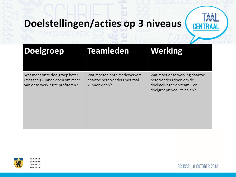 Doelstellingen/acties op 3 niveaus DoelgroepTeamledenWerking Wat moet onze doelgroep beter (met taal) kunnen doen om meer van onze werking te profiter