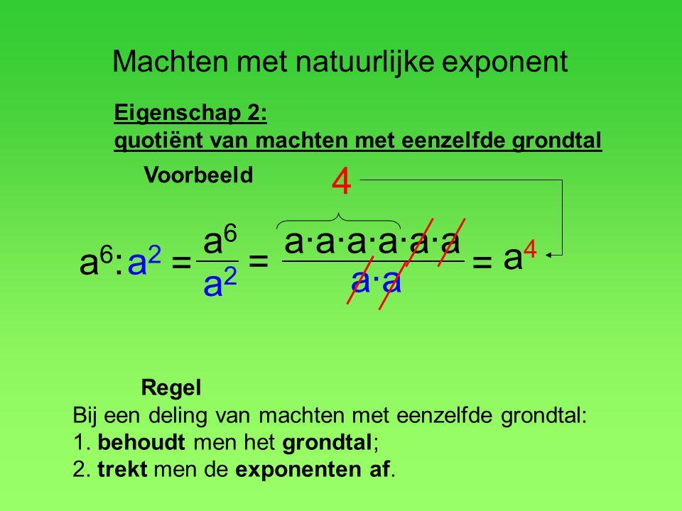 Machten met natuurlijke exponent Eigenschap 2: quotiënt van machten met eenzelfde grondtal a6:a6: a·a·a·a·a·a a·a = a 4 a2a2 = 4 Regel Bij een deling
