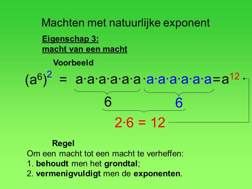 Machten met natuurlijke exponent Eigenschap 3: macht van een macht (a 6 ) a·a·a·a·a·a·a·a·a·a·a·a = a 12 2 = 6 6 2·6 = 12 Regel Om een macht tot een m