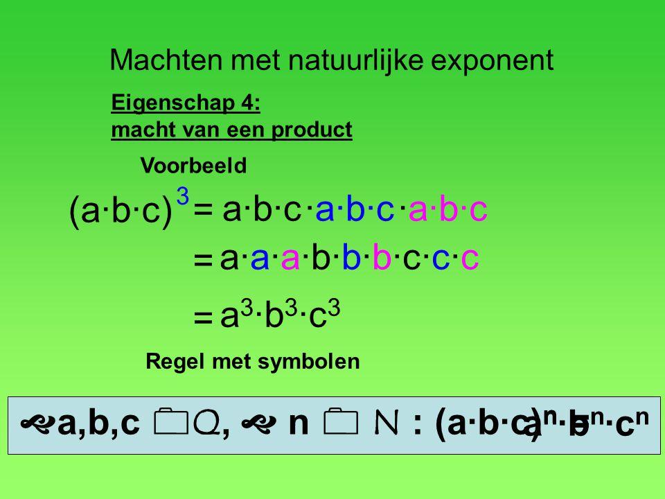 Machten met natuurlijke exponent Eigenschap 4: macht van een product (a·b·c) a·b·c·a·b·c = 3 = Voorbeeld ·a·b·c a·a·a·b·b·b·c·c·c = a 3 ·b 3 ·c 3  a,