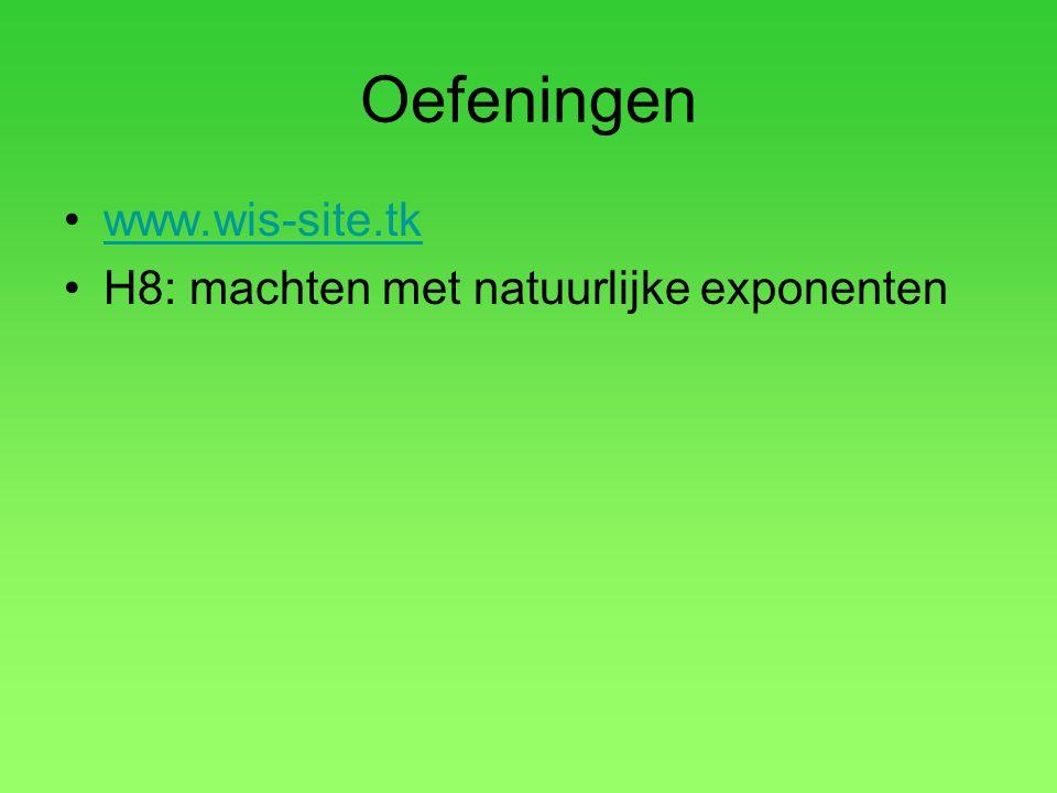 Oefeningen •www.wis-site.tkwww.wis-site.tk •H8: machten met natuurlijke exponenten