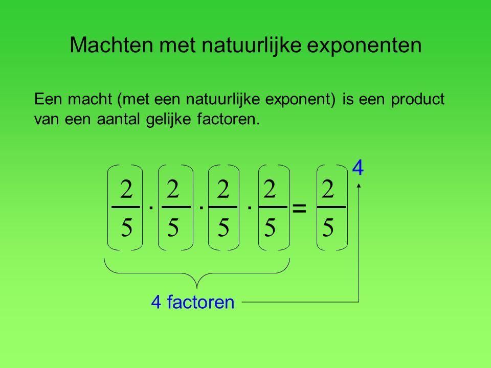 Machten met natuurlijke exponenten 2 5. 2 5 = 2 5. 2 5. 2 5 4 4 factoren Een macht (met een natuurlijke exponent) is een product van een aantal gelijk