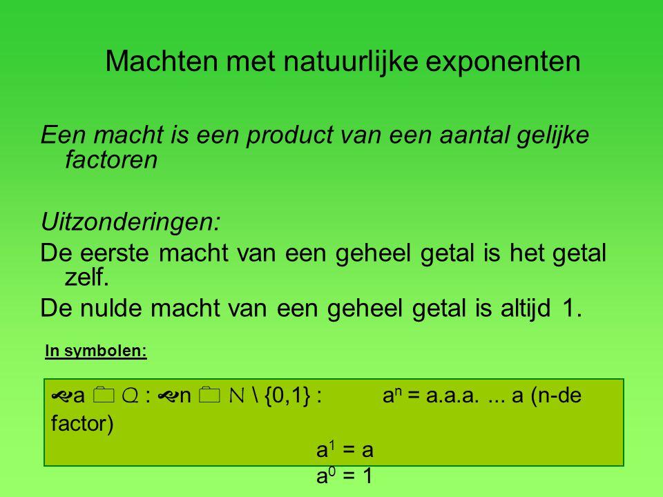 Een macht is een product van een aantal gelijke factoren Uitzonderingen: De eerste macht van een geheel getal is het getal zelf. De nulde macht van ee