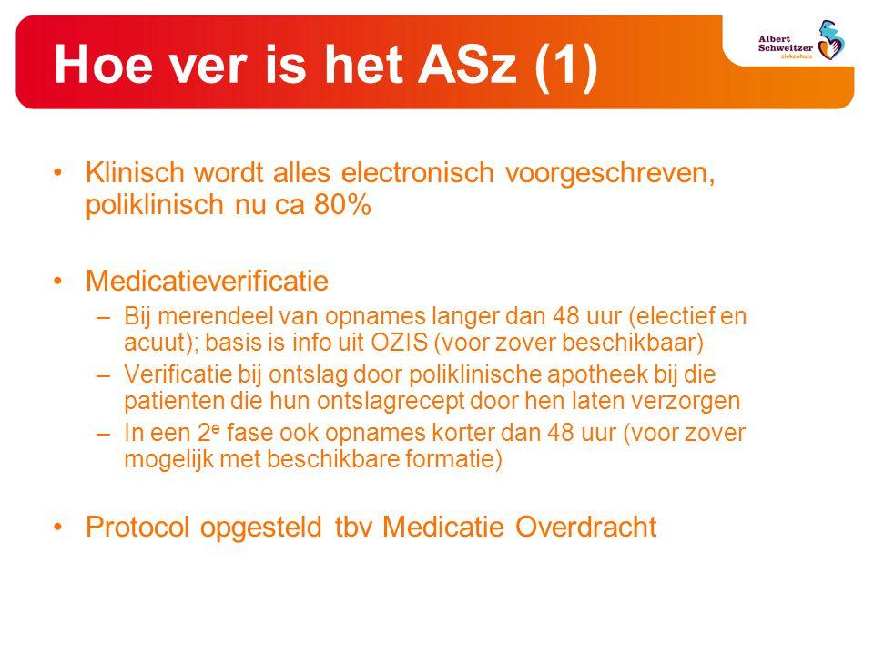 Hoe ver is het ASz (1) •Klinisch wordt alles electronisch voorgeschreven, poliklinisch nu ca 80% •Medicatieverificatie –Bij merendeel van opnames lang