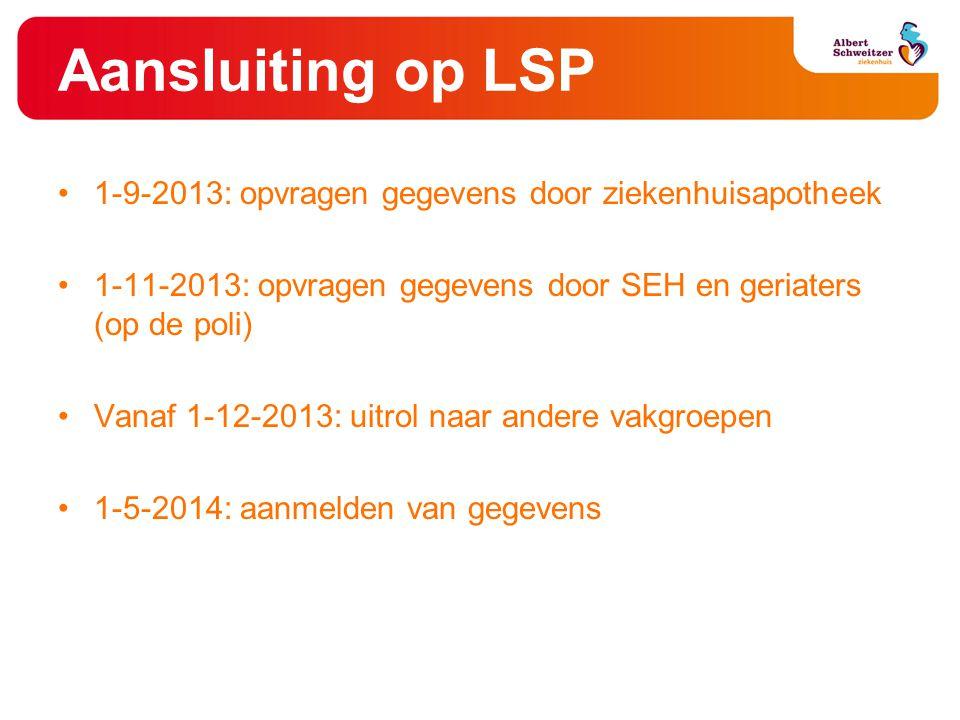 Aansluiting op LSP •1-9-2013: opvragen gegevens door ziekenhuisapotheek •1-11-2013: opvragen gegevens door SEH en geriaters (op de poli) •Vanaf 1-12-2