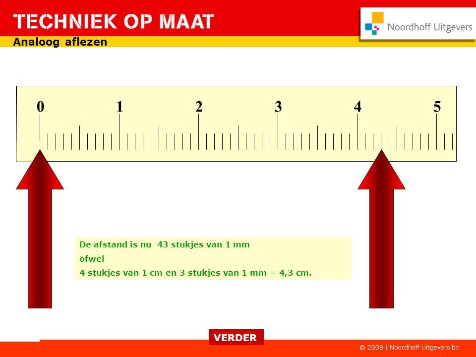 0 1 2 3 4 5 De afstand is nu 43 stukjes van 1 mm ofwel 4 stukjes van 1 cm en 3 stukjes van 1 mm = 4,3 cm.
