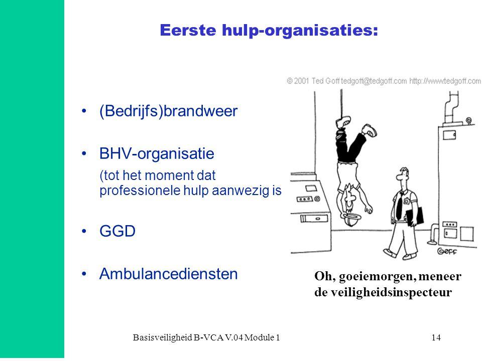 Basisveiligheid B-VCA V.04 Module 114 Eerste hulp-organisaties: •(Bedrijfs)brandweer •BHV-organisatie (tot het moment dat professionele hulp aanwezig is •GGD •Ambulancediensten Oh, goeiemorgen, meneer de veiligheidsinspecteur