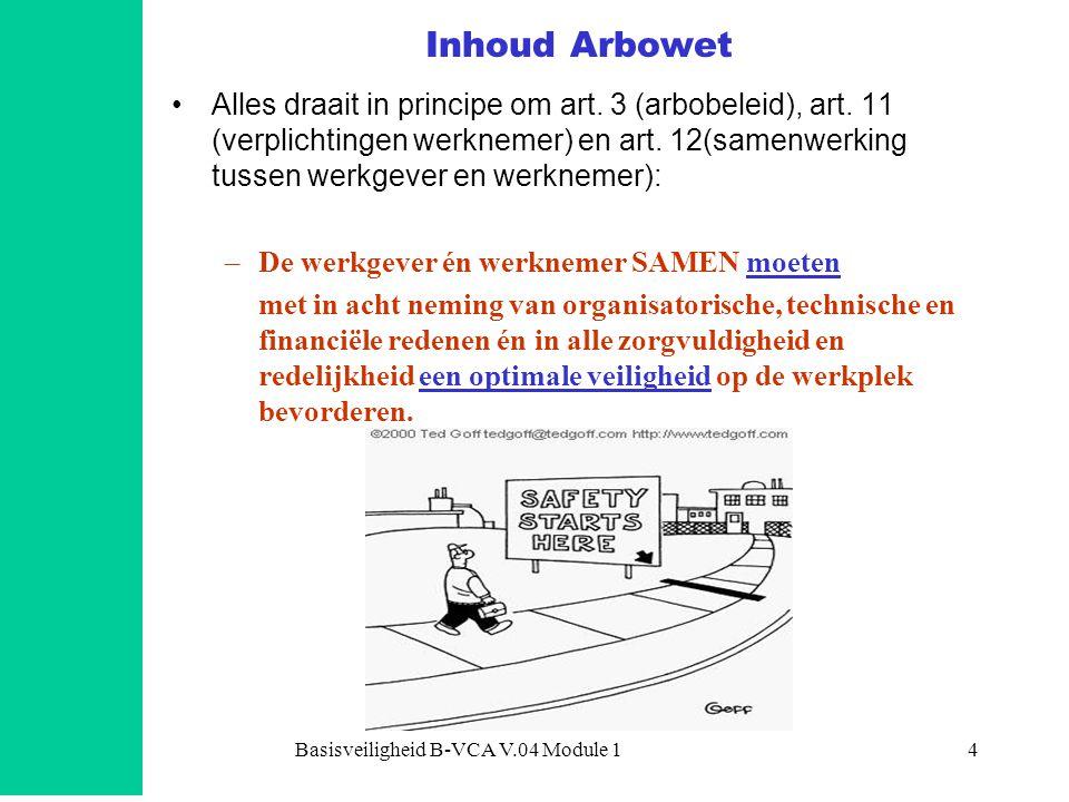 Basisveiligheid B-VCA V.04 Module 14 •Alles draait in principe om art.