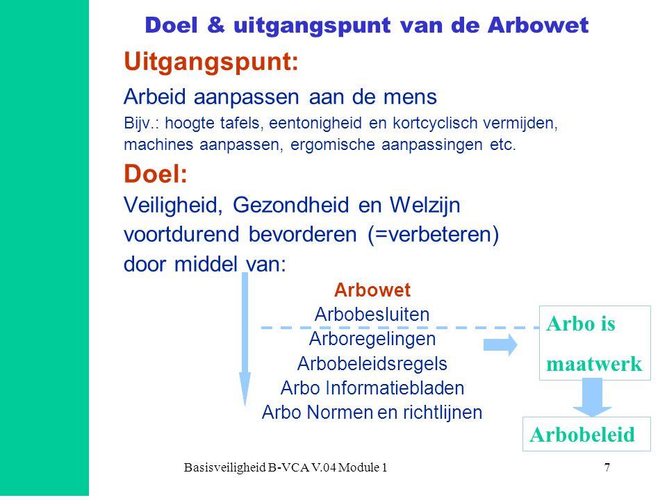 Basisveiligheid B-VCA V.04 Module 17 Doel & uitgangspunt van de Arbowet Uitgangspunt: Arbeid aanpassen aan de mens Bijv.: hoogte tafels, eentonigheid en kortcyclisch vermijden, machines aanpassen, ergomische aanpassingen etc.