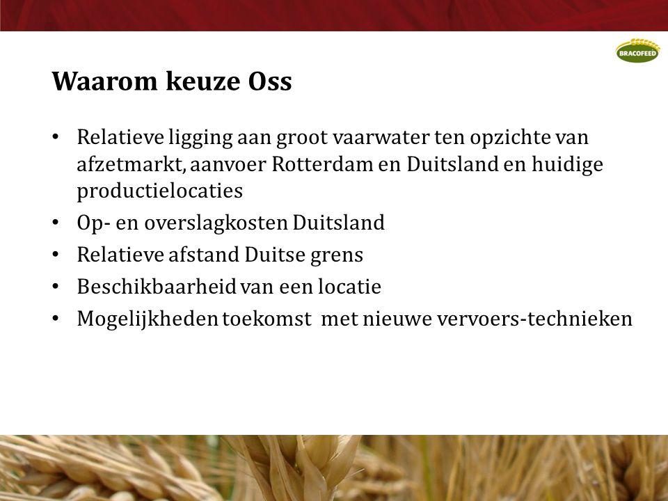 Waarom keuze Oss • Relatieve ligging aan groot vaarwater ten opzichte van afzetmarkt, aanvoer Rotterdam en Duitsland en huidige productielocaties • Op- en overslagkosten Duitsland • Relatieve afstand Duitse grens • Beschikbaarheid van een locatie • Mogelijkheden toekomst met nieuwe vervoers-technieken