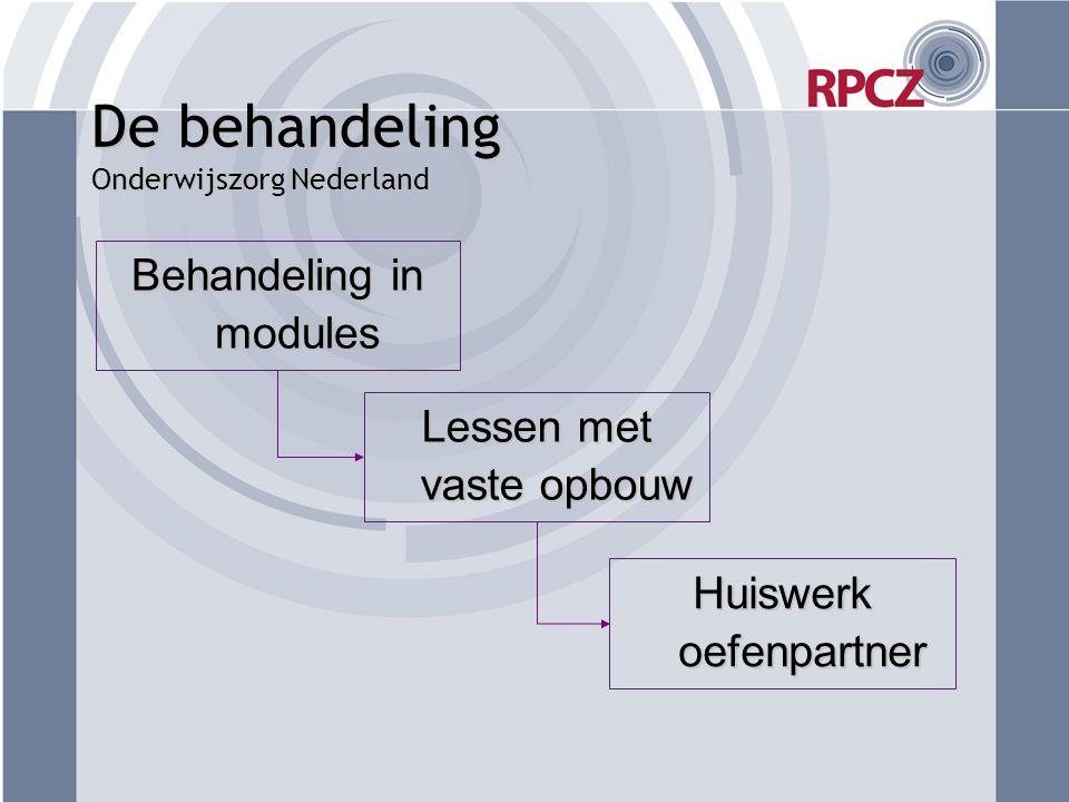 De behandeling Onderwijszorg Nederland Behandeling in modules Lessen met vaste opbouw Huiswerk oefenpartner