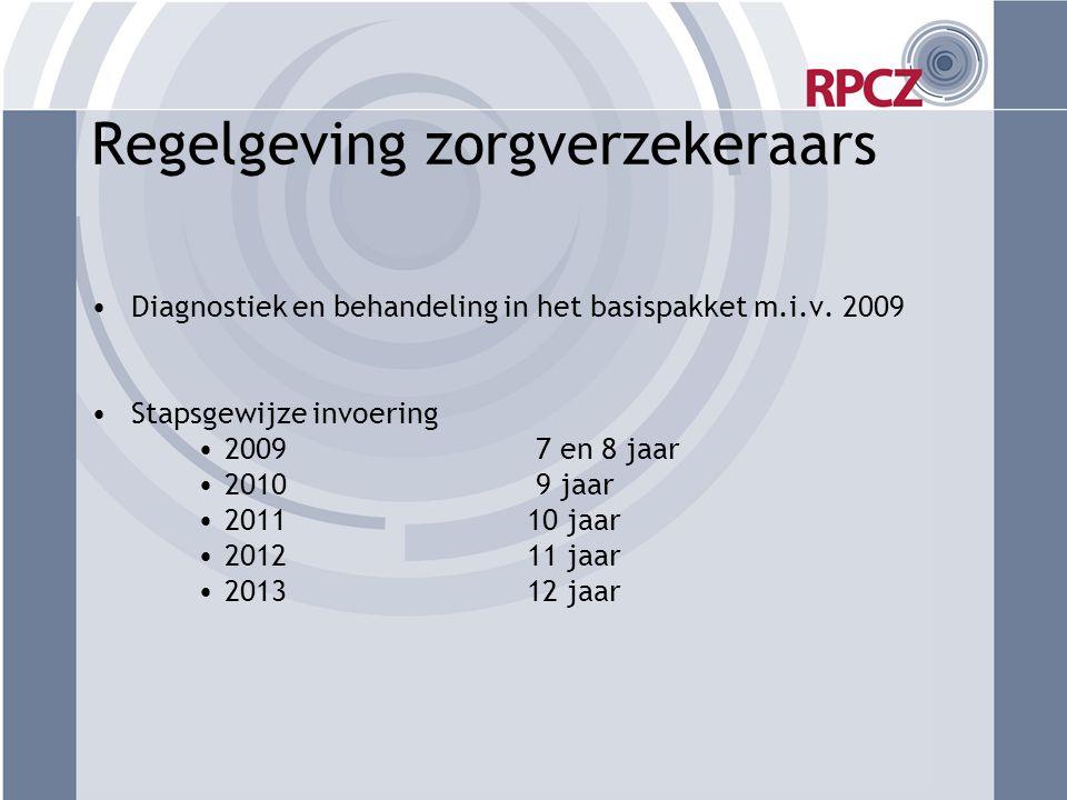 Regelgeving zorgverzekeraars •Diagnostiek en behandeling in het basispakket m.i.v. 2009 •Stapsgewijze invoering •2009 7 en 8 jaar •2010 9 jaar •2011 1