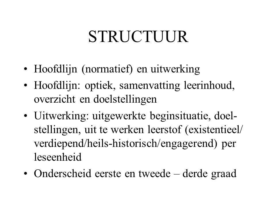 STRUCTUUR •Hoofdlijn (normatief) en uitwerking •Hoofdlijn: optiek, samenvatting leerinhoud, overzicht en doelstellingen •Uitwerking: uitgewerkte begin