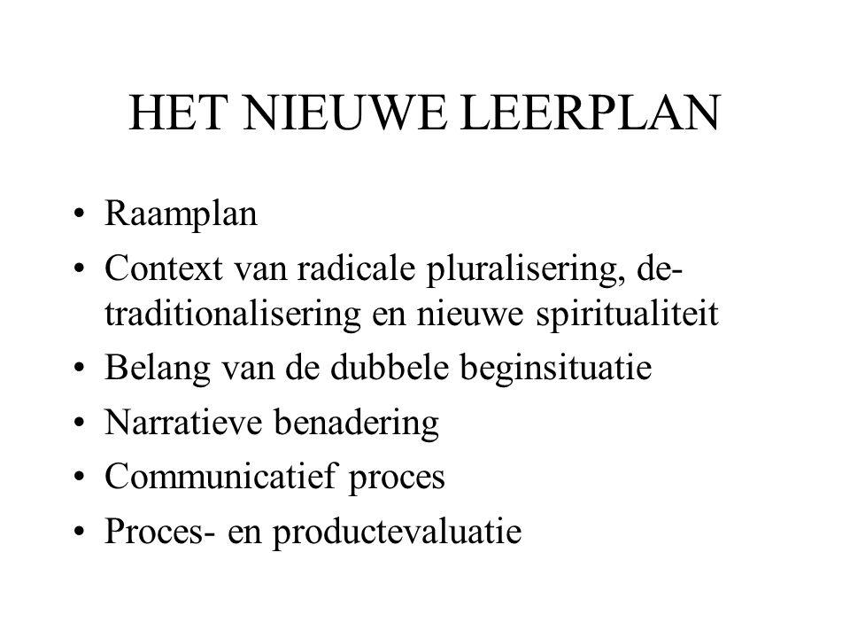 HET NIEUWE LEERPLAN •Raamplan •Context van radicale pluralisering, de- traditionalisering en nieuwe spiritualiteit •Belang van de dubbele beginsituati