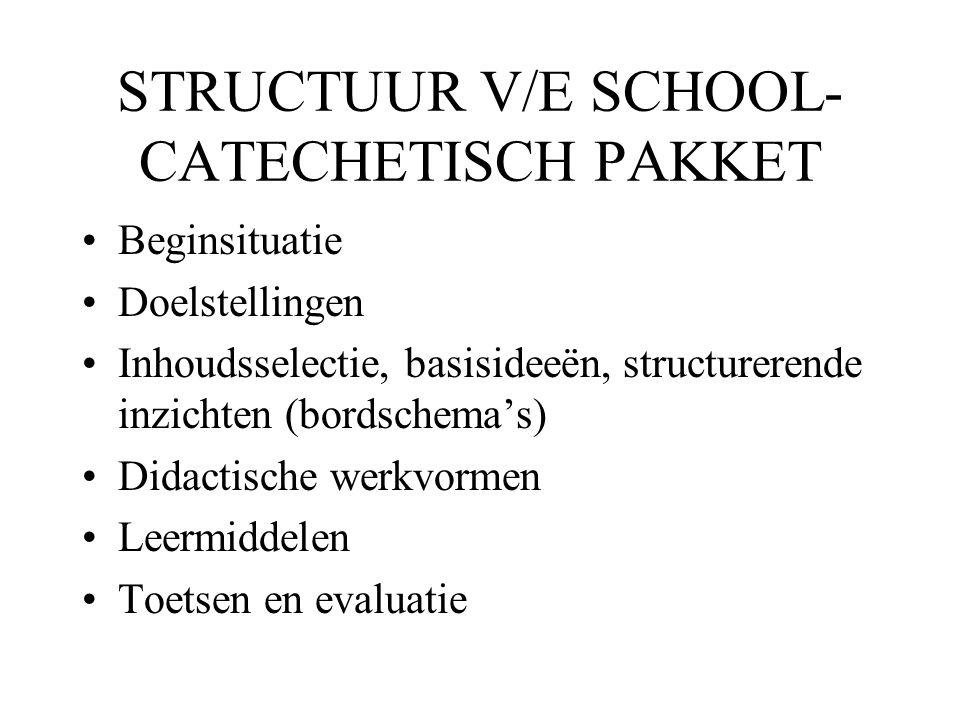 STRUCTUUR V/E SCHOOL- CATECHETISCH PAKKET •Beginsituatie •Doelstellingen •Inhoudsselectie, basisideeën, structurerende inzichten (bordschema's) •Didac
