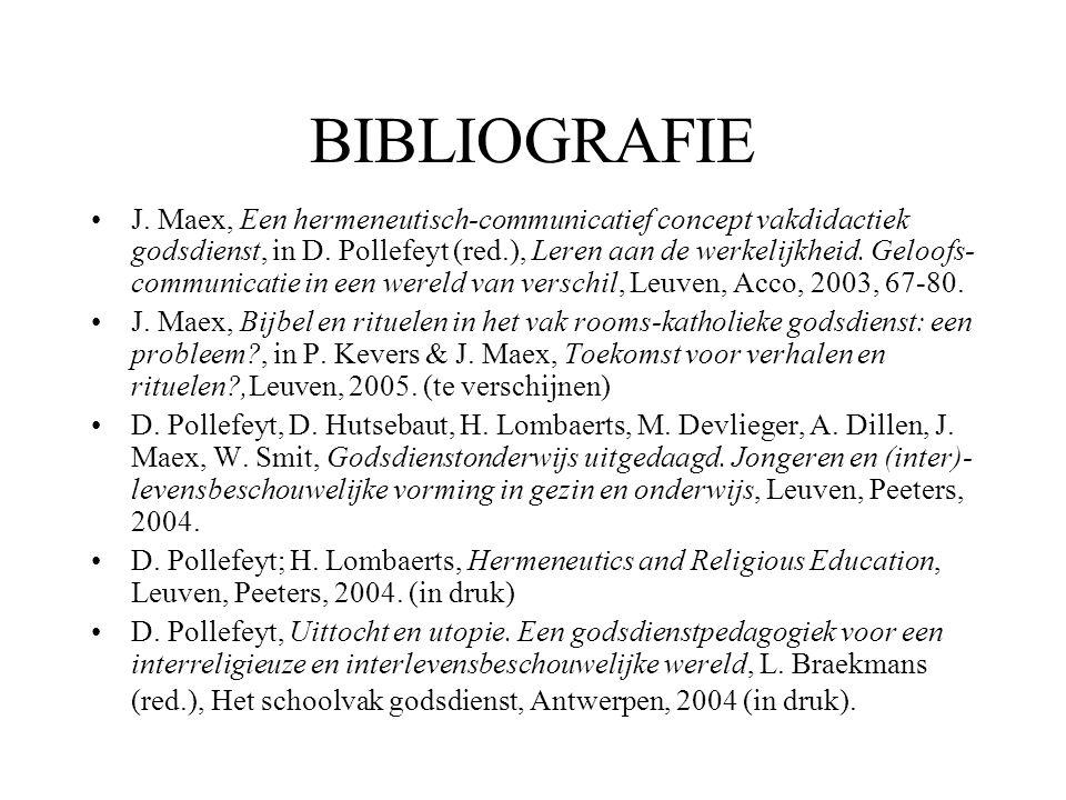 BIBLIOGRAFIE •J. Maex, Een hermeneutisch-communicatief concept vakdidactiek godsdienst, in D. Pollefeyt (red.), Leren aan de werkelijkheid. Geloofs- c