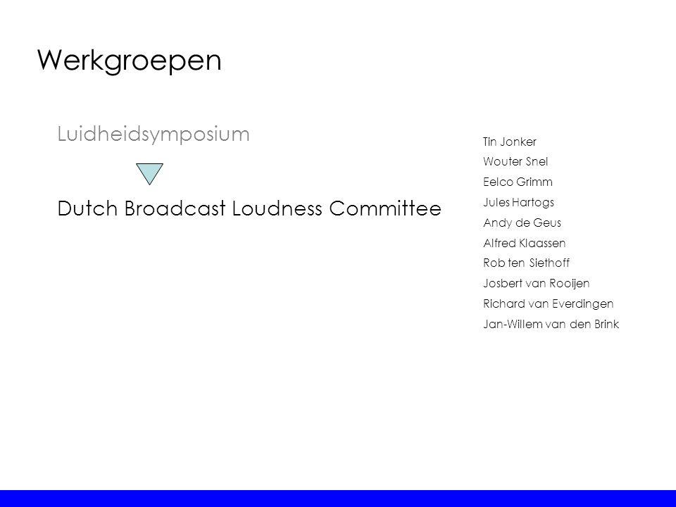 Werkgroepen Dutch Broadcast Loudness Committee Tin Jonker Wouter Snel Eelco Grimm Jules Hartogs Andy de Geus Alfred Klaassen Rob ten Siethoff Josbert