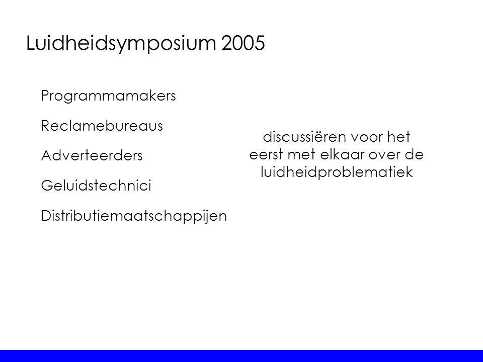 Luidheidsymposium 2005 Programmamakers Reclamebureaus Adverteerders Geluidstechnici Distributiemaatschappijen discussiëren voor het eerst met elkaar o