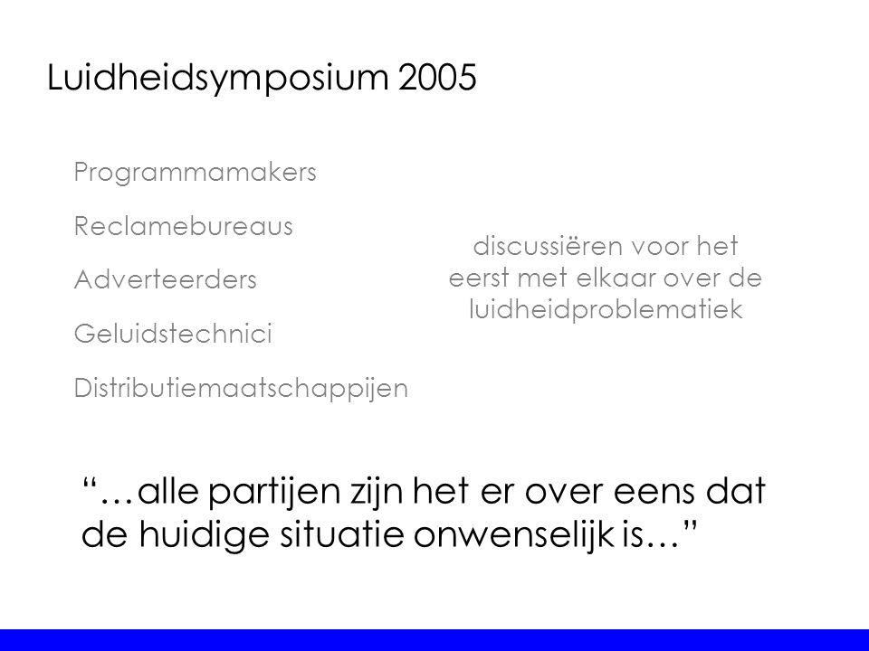 """Luidheidsymposium 2005 Programmamakers Reclamebureaus Adverteerders Geluidstechnici Distributiemaatschappijen """"…alle partijen zijn het er over eens da"""