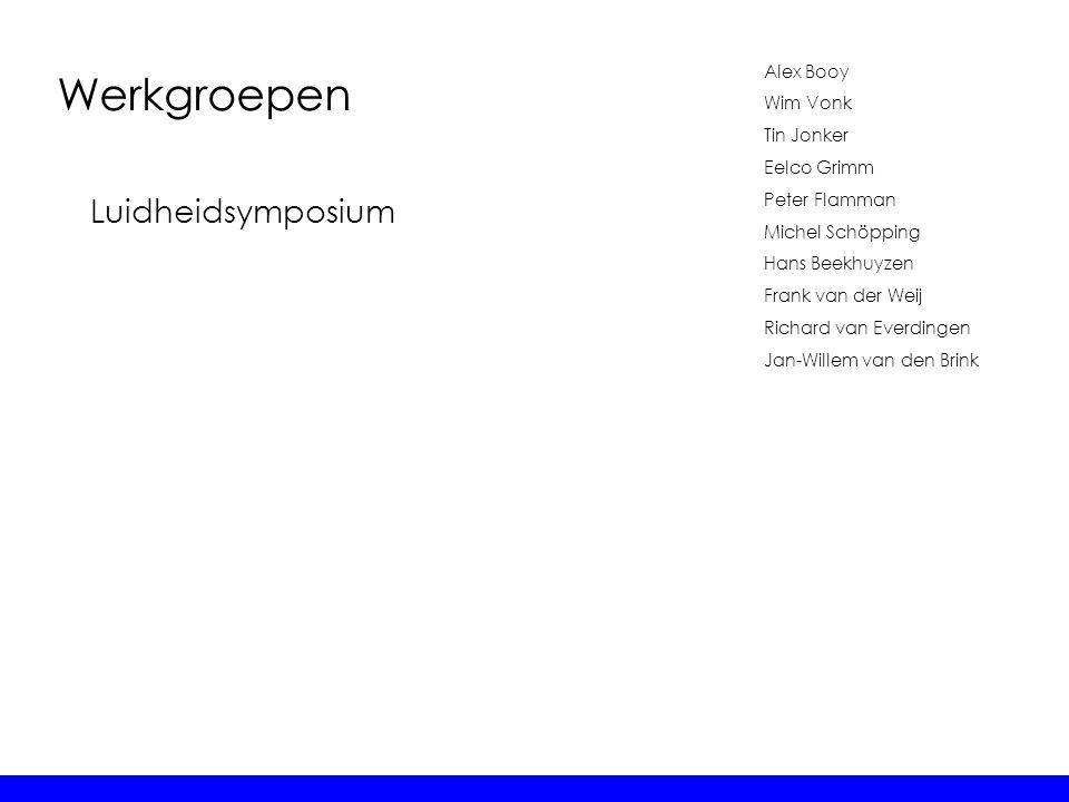 Werkgroepen Alex Booy Wim Vonk Tin Jonker Eelco Grimm Peter Flamman Michel Schöpping Hans Beekhuyzen Frank van der Weij Richard van Everdingen Jan-Wil