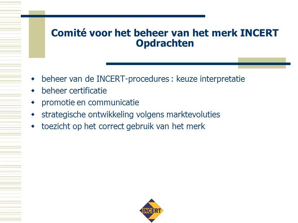 Comité voor het beheer van het merk INCERT Beheer van certificatie  certificatiereglementen  eisen certificatie-instellingen (EN45011)  mandaat:  installateurs: (AIB-)VINCOTTE, BOSEC, SGS S&SC eesv  producten: BOSEC, SGS Belgium NV  markttoezicht, beroep