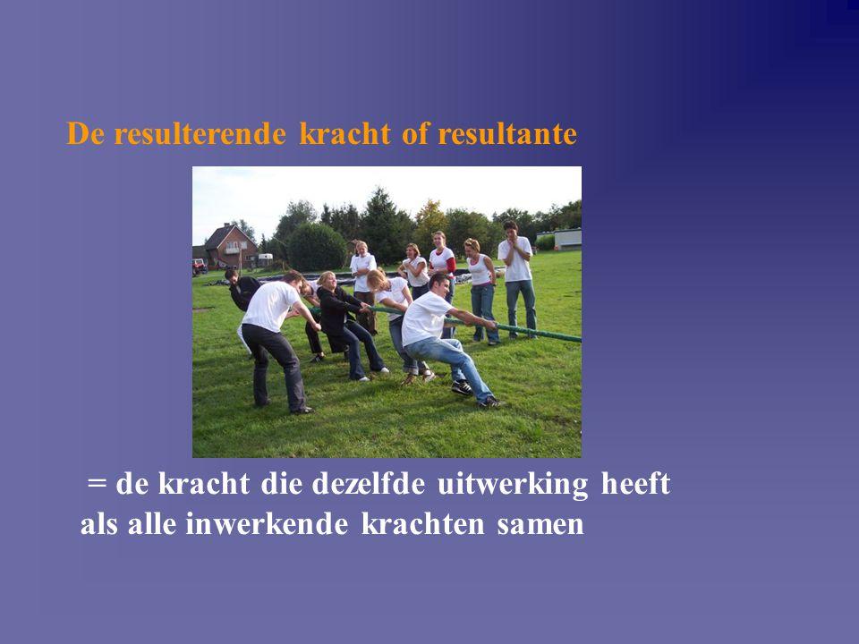 De resulterende kracht of resultante = de kracht die dezelfde uitwerking heeft als alle inwerkende krachten samen