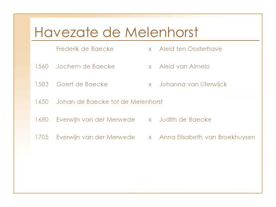 Havezate de Melenhorst Frederik de BaeckexAleid ten Oosterhave 1560Jochem de BaeckexAleid van Almelo 1583Goert de BaeckexJohanna van Uterwijck 1650Joh