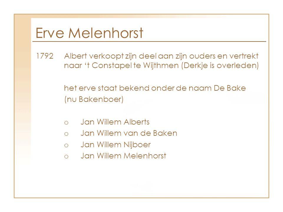 Erve Melenhorst 1792Albert verkoopt zijn deel aan zijn ouders en vertrekt naar 't Constapel te Wijthmen (Derkje is overleden) het erve staat bekend on