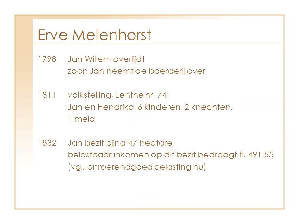 1798Jan Willem overlijdt zoon Jan neemt de boerderij over 1811volkstelling, Lenthe nr. 74: Jan en Hendrika, 6 kinderen, 2 knechten, 1 meid 1832Jan bez